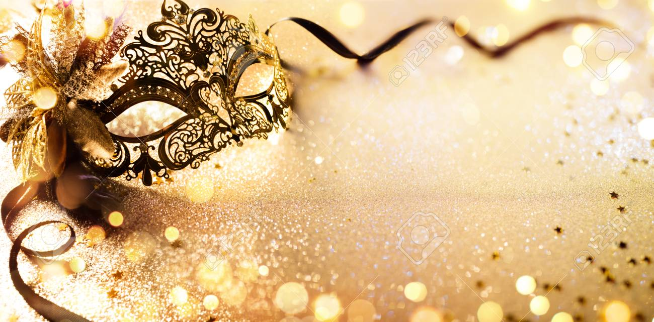 Venetian Golden Mask On Shiny Defocused Background - 93125952
