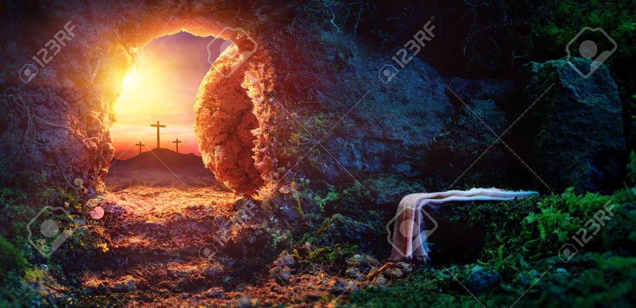 Crucifixion At Sunrise - Empty Tomb With Shroud - Resurrection Of Jesus Christ - 97061457