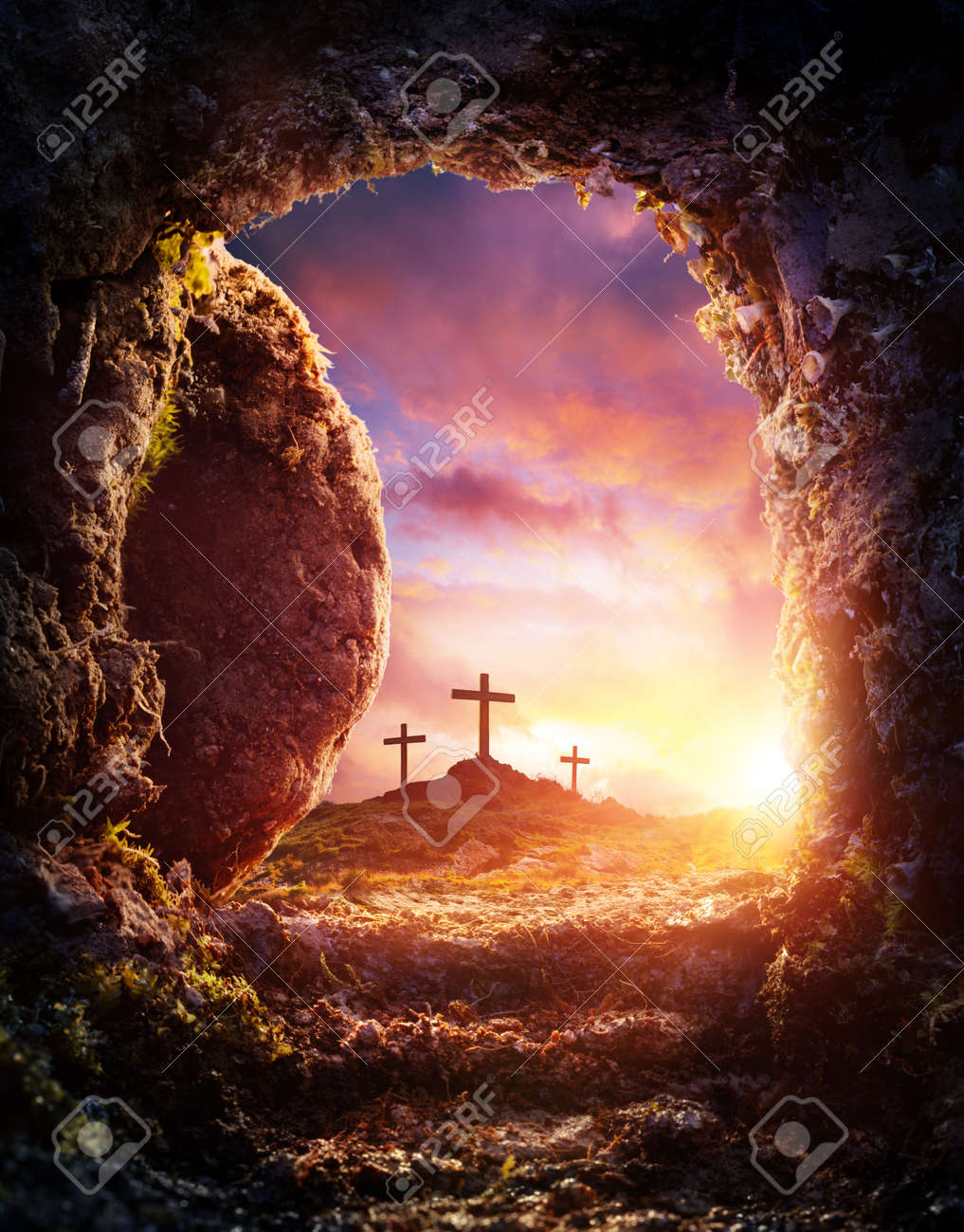 Elegant Empty Tomb   Crucifixion And Resurrection Of Jesus Christ Stock Photo    97199834