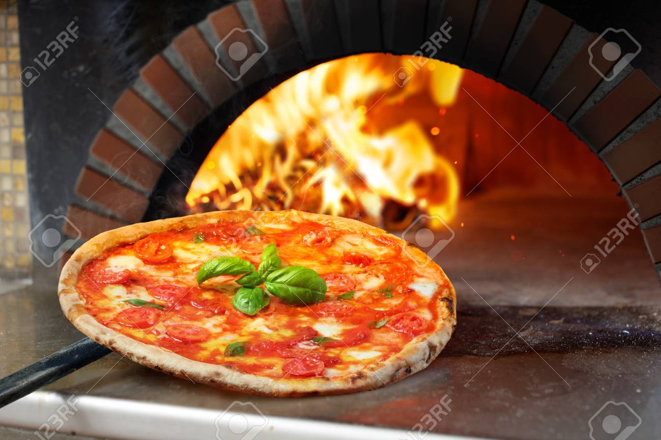 Hot Margherita Pizza Baked In Oven - 104828183