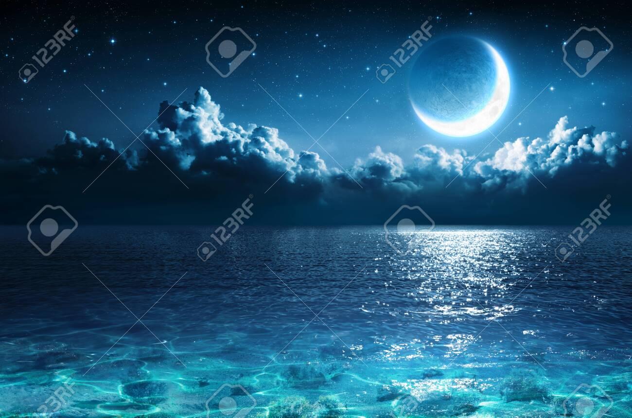 Romantic Moon On Sea In Magic Night - 125945059
