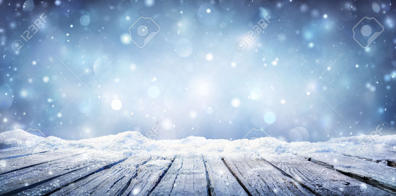 Winter Table - Snowy Plank With Snowfall In The Cold Sky - 132910730