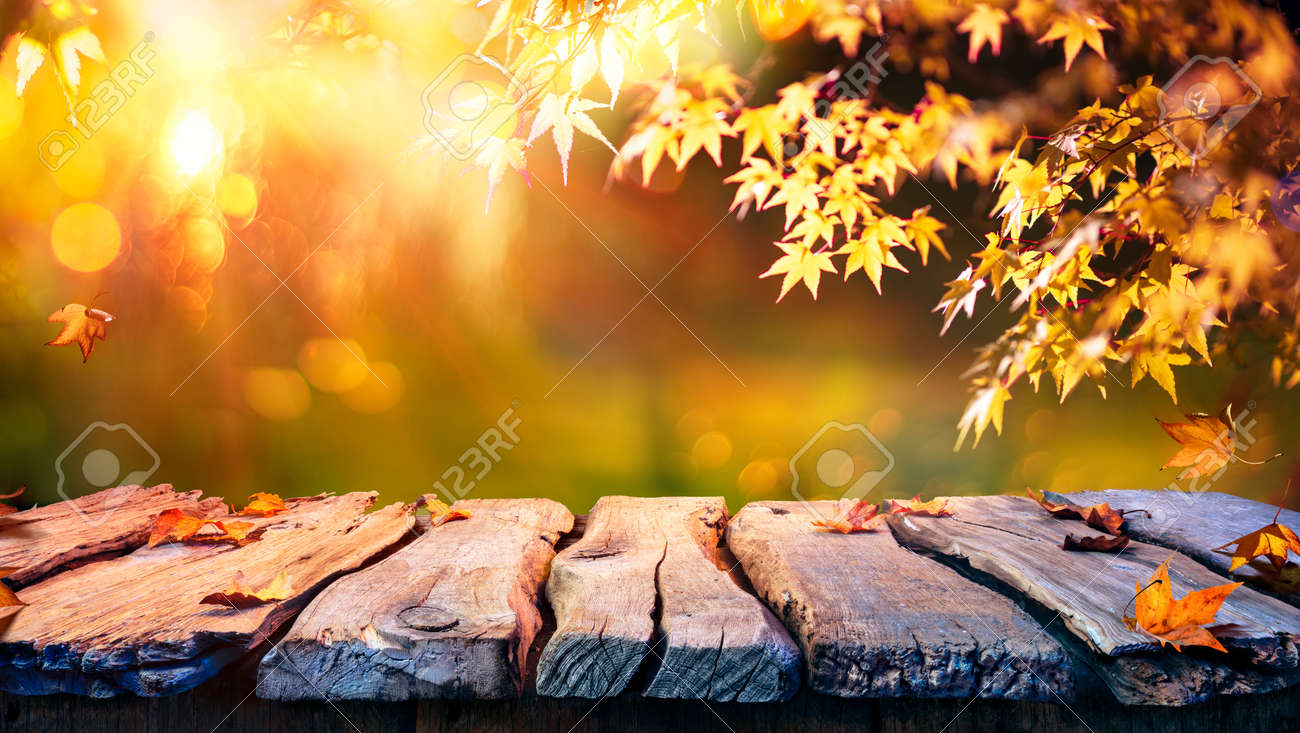 Wooden Table With Red And Yellow Leaves At Sunset - Autumn Background - 154194422