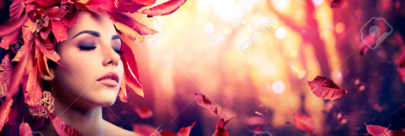 Autumn Woman - Beauty Fashion Model Girl With Red Leaves In Forest - 154842598