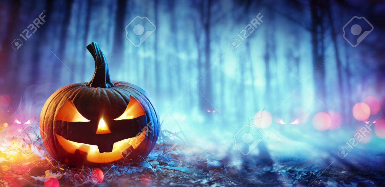 Pumpkin In Defocused Spooky Forest At Night - Halloween Concept - 155835023