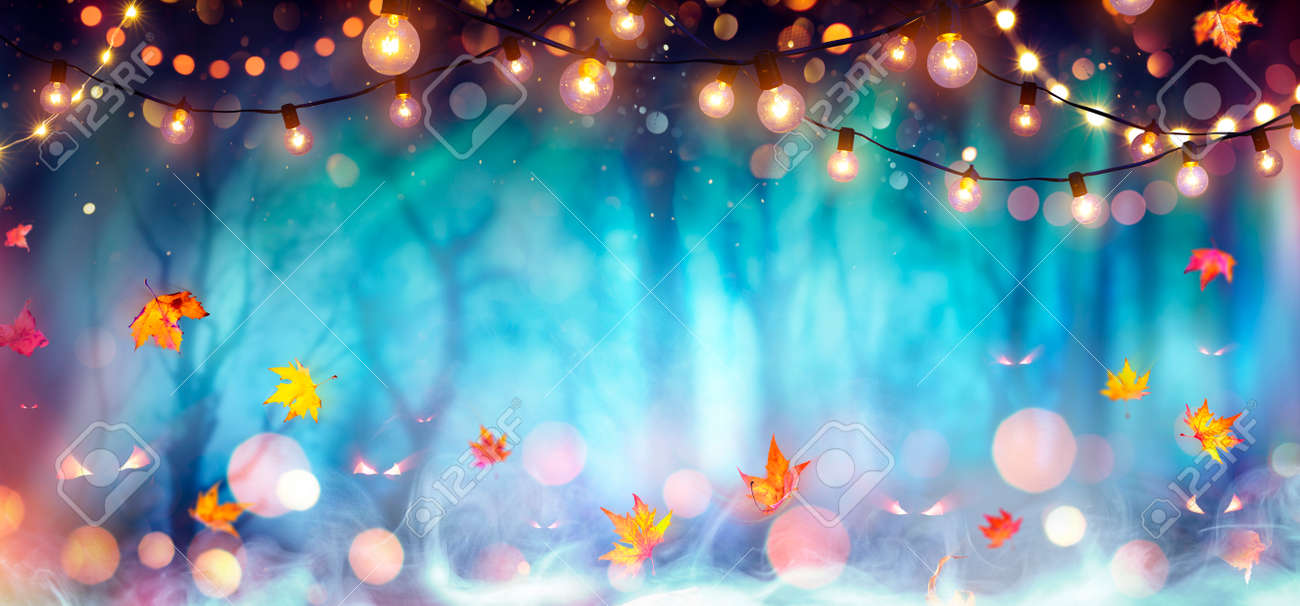 Abstract Party In Defocused Forest At Twilight - Halloween Background - 156374709