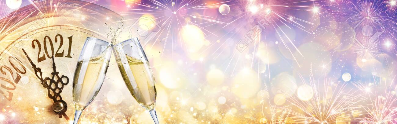 2021 Countdown - Champagne And Clock for New Year Celebration - 156374717