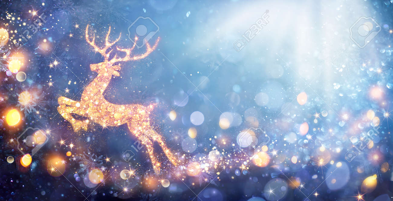 Christmas Card - Shiny Reindeer In Defocused Glittering Background - Contain 3d Illustrations - 157152243