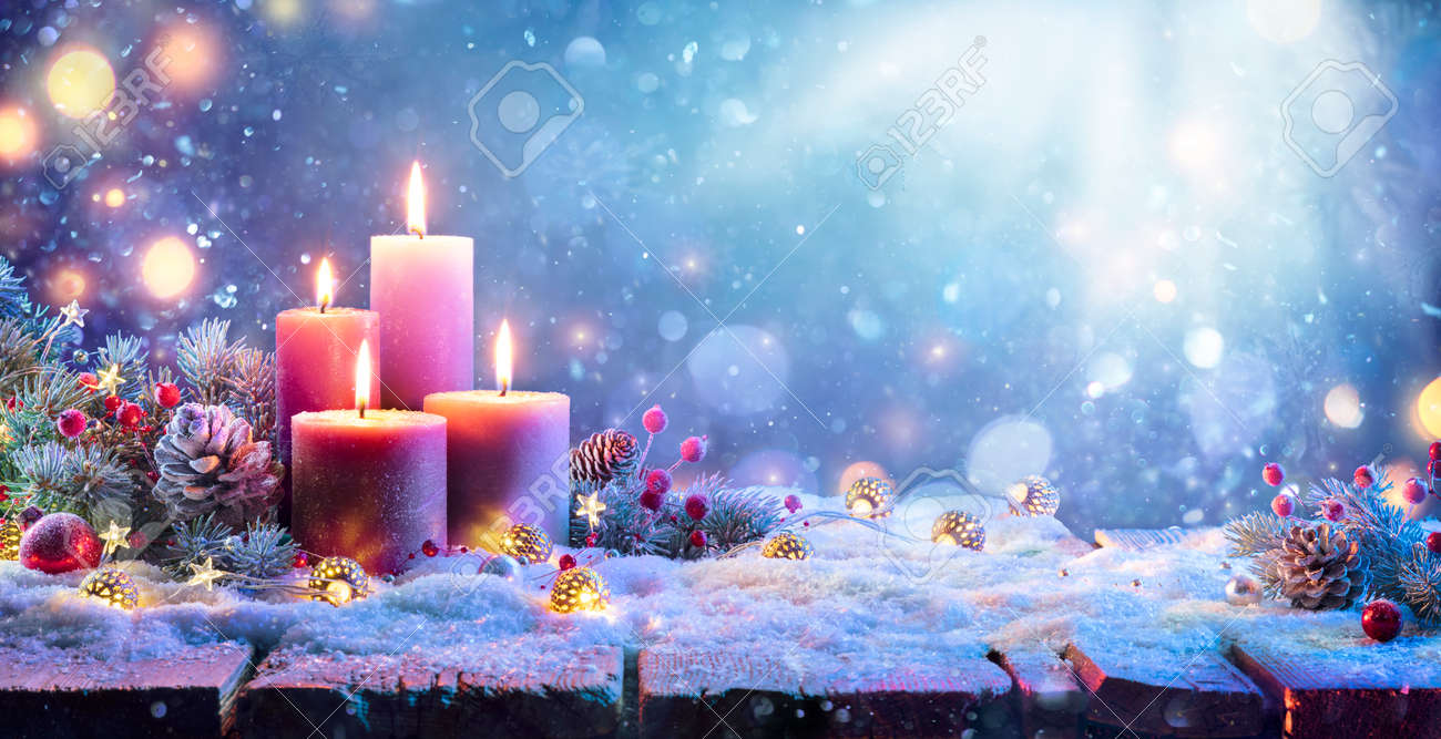 Advent - Four Purple Candles With Christmas Ornament In Shiny Night - 157152215