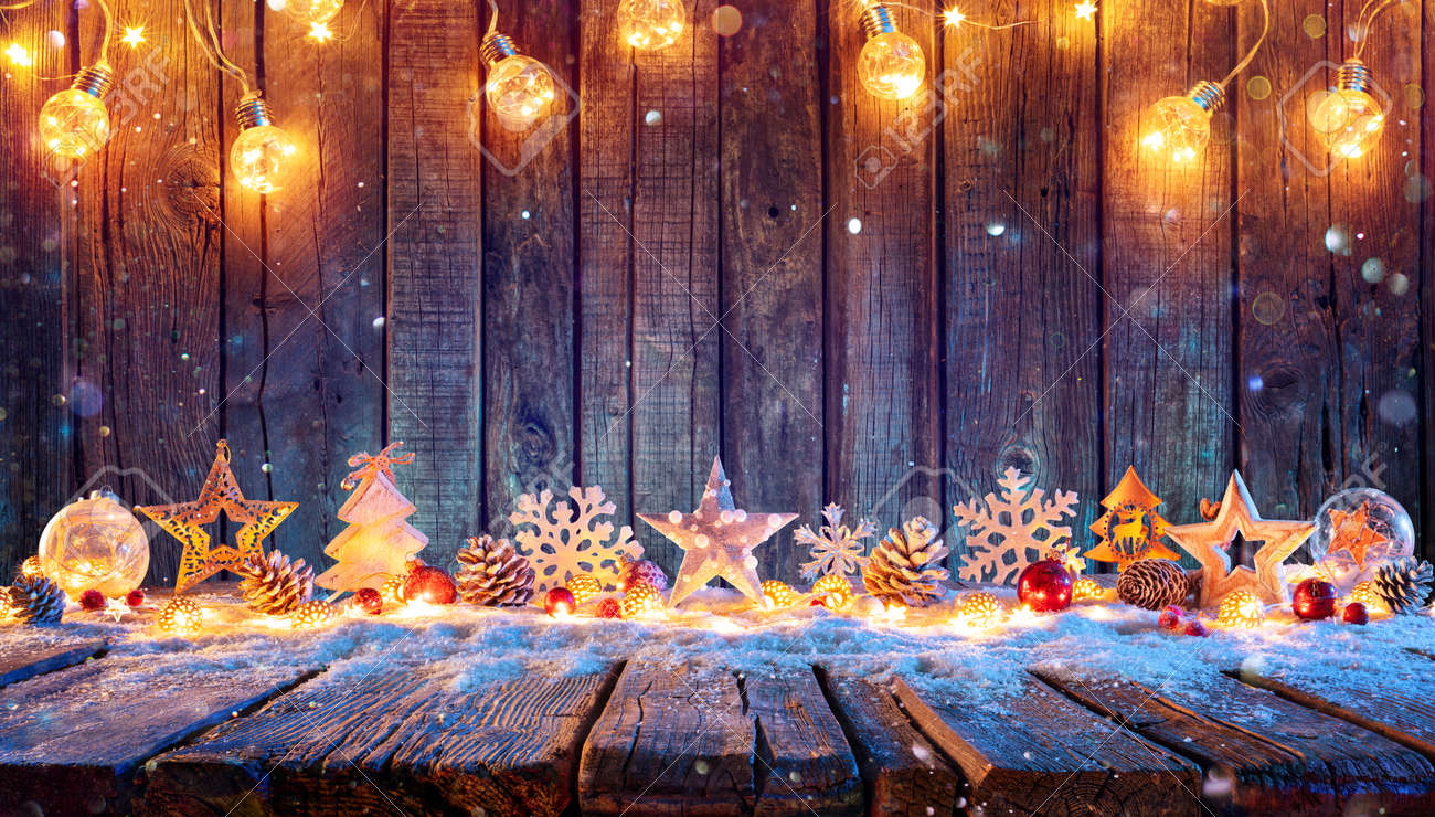 Christmas Ornament With String Lights On Rustic Wooden Table - 157152233