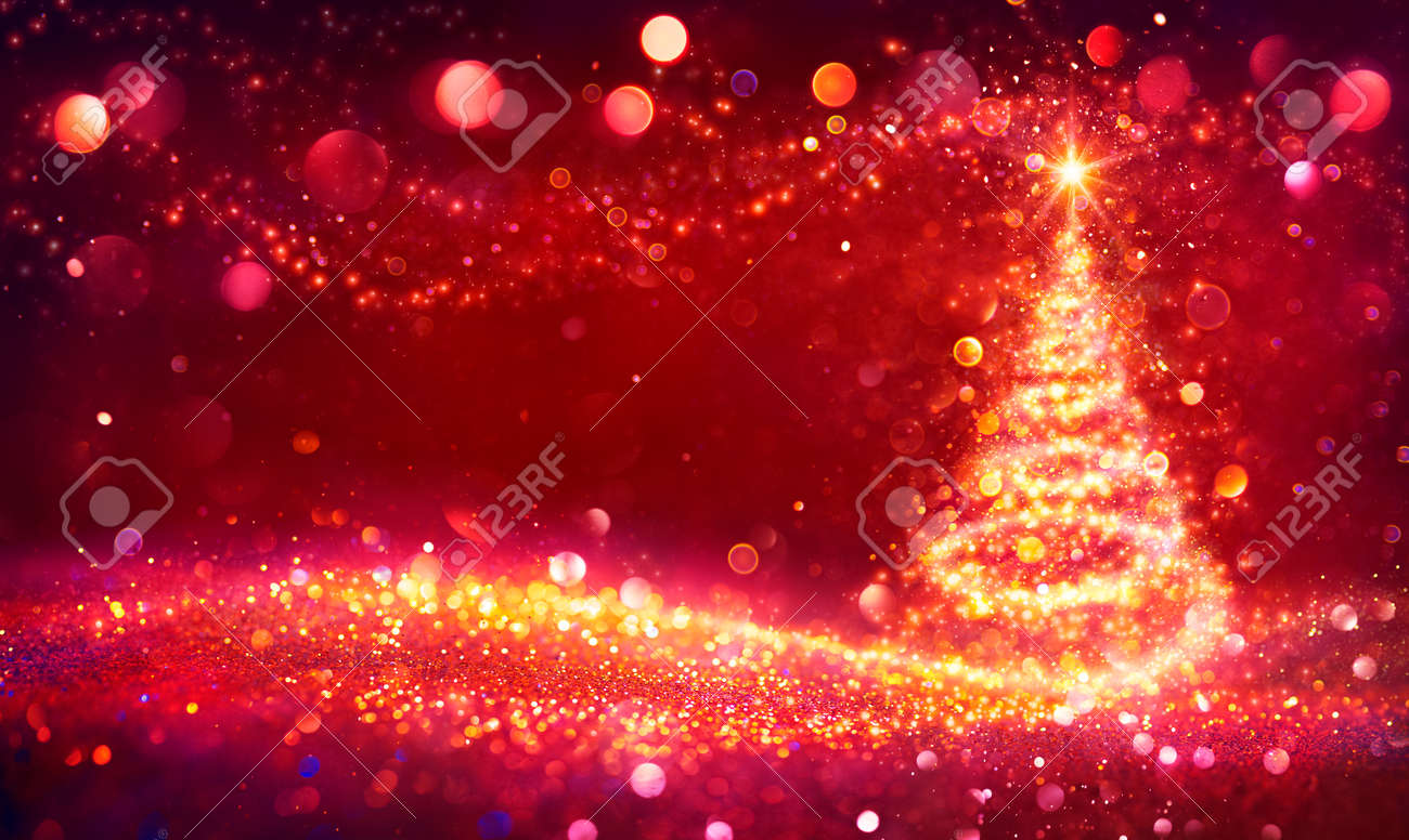 Abstract Golden Christmas Tree In Shiny Defocused Background - Contain Illustration - 158081887