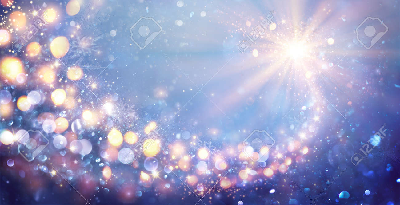 Magic Abstract Christmas Star In Shiny Sky - Defocused Lights - Contain Illustration - 158129629