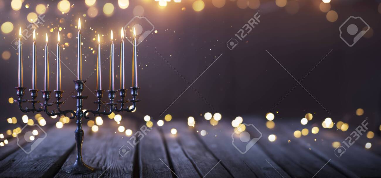 Hanukkah Abstract Defocused Background - Menorah With Bright Dust On Wooden Table - 159435977
