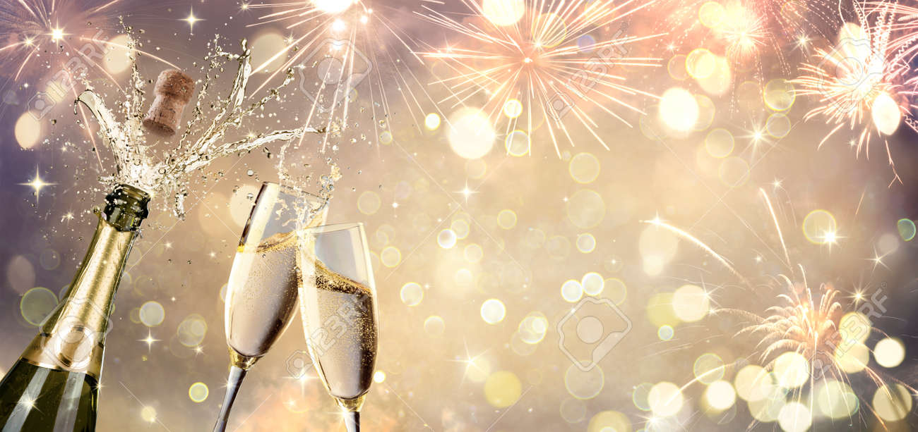 Celebration With Champagne And Flutes - Defocused Abstract Background - 160247911