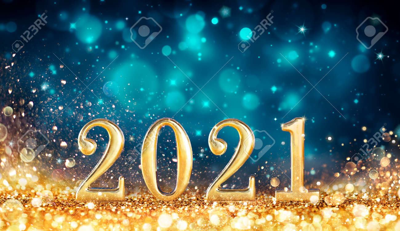 Abstract Card With Colors Trend - Happy New Years 2021 - Metal Number With Golden Glitter - 160247917
