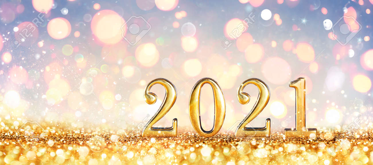 Abstract Card - Happy New Years 2021 - Shiny Numbers With Golden Glitter - 160247918