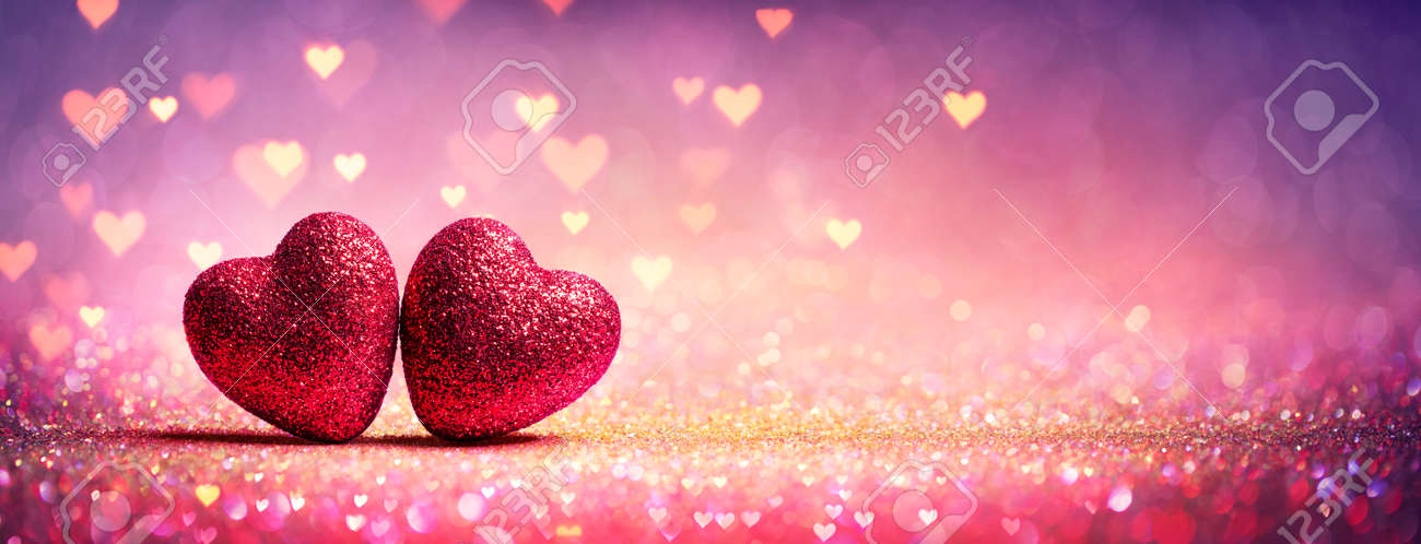 Abstract Defocused Valentines Card With Red Hearts On Shiny Glitter - 162813980