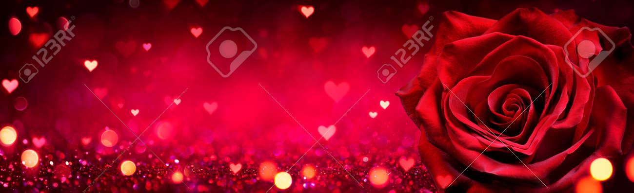 Valentines Card - Red Rose Heart Shaped On Shiny Glitter Background - 162813986