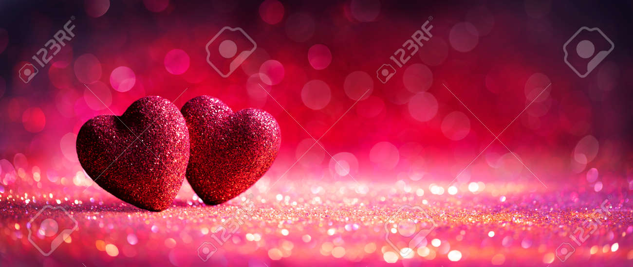 Abstract Defocused Valentines Card With Red Hearts On Shiny Glitter - 162813987