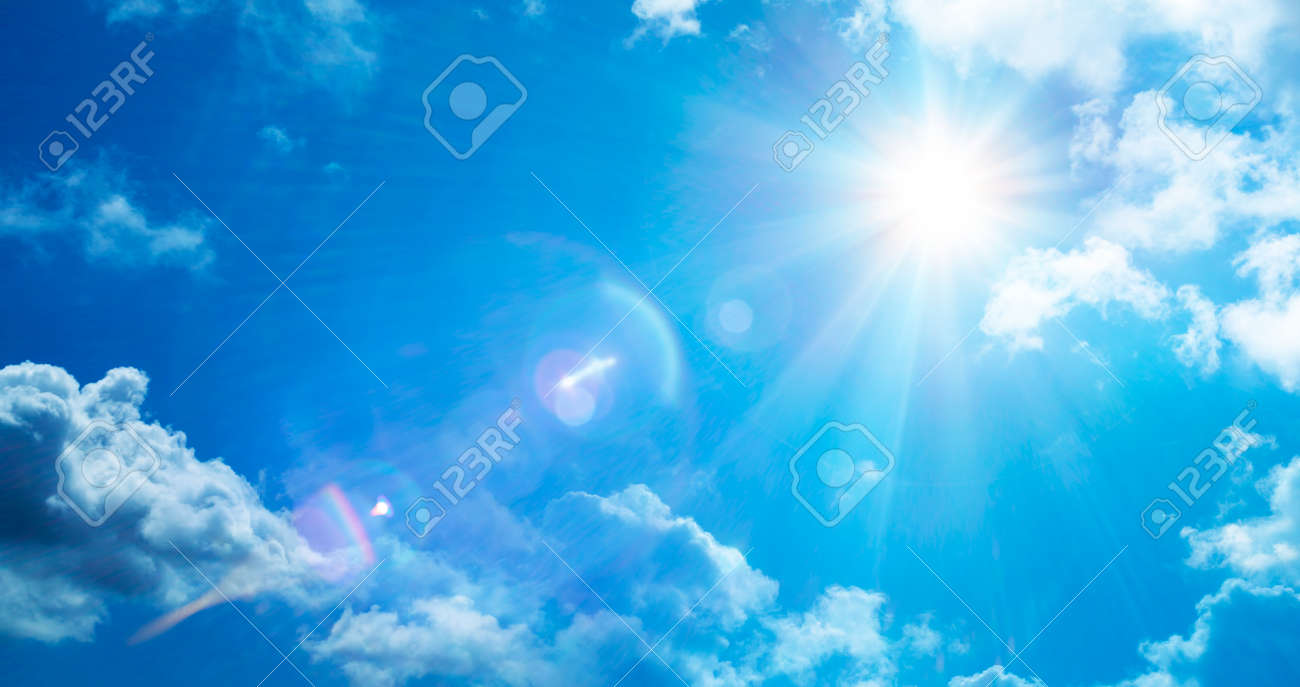 Abstract Weather Concept - Sun In Serene Sky With Flare Effect - 164196519
