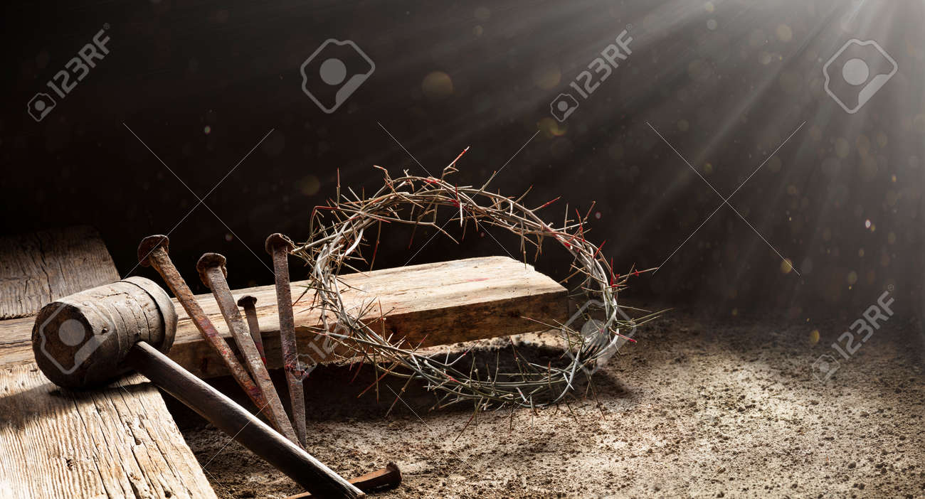Passion Of Jesus - Wooden Cross With Crown Of Thorns Hammer And Bloody Spikes - 164578825