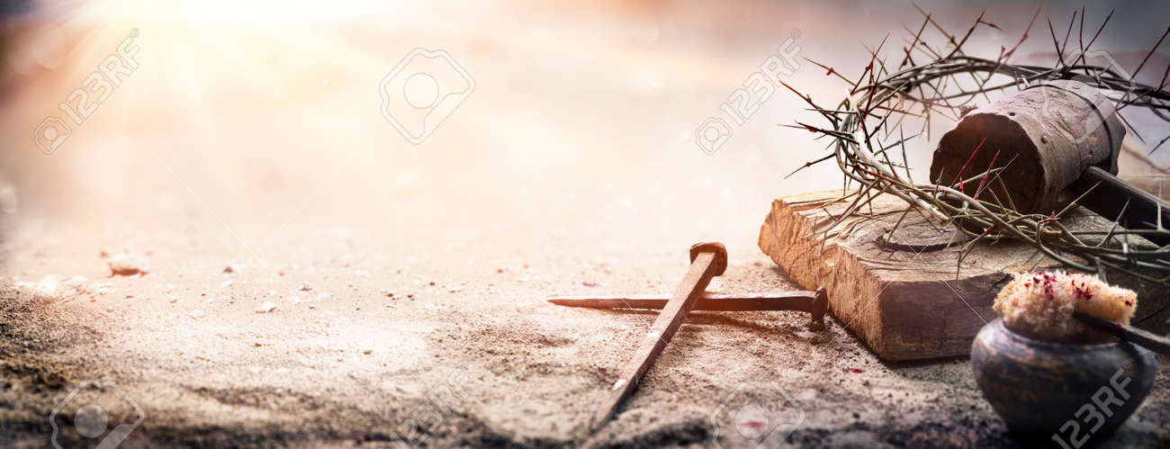 Passion Of Jesus Christ - Hammer And Bloody Nails And Crown Of Thorns On Arid Ground With Defocused Background - 167156663