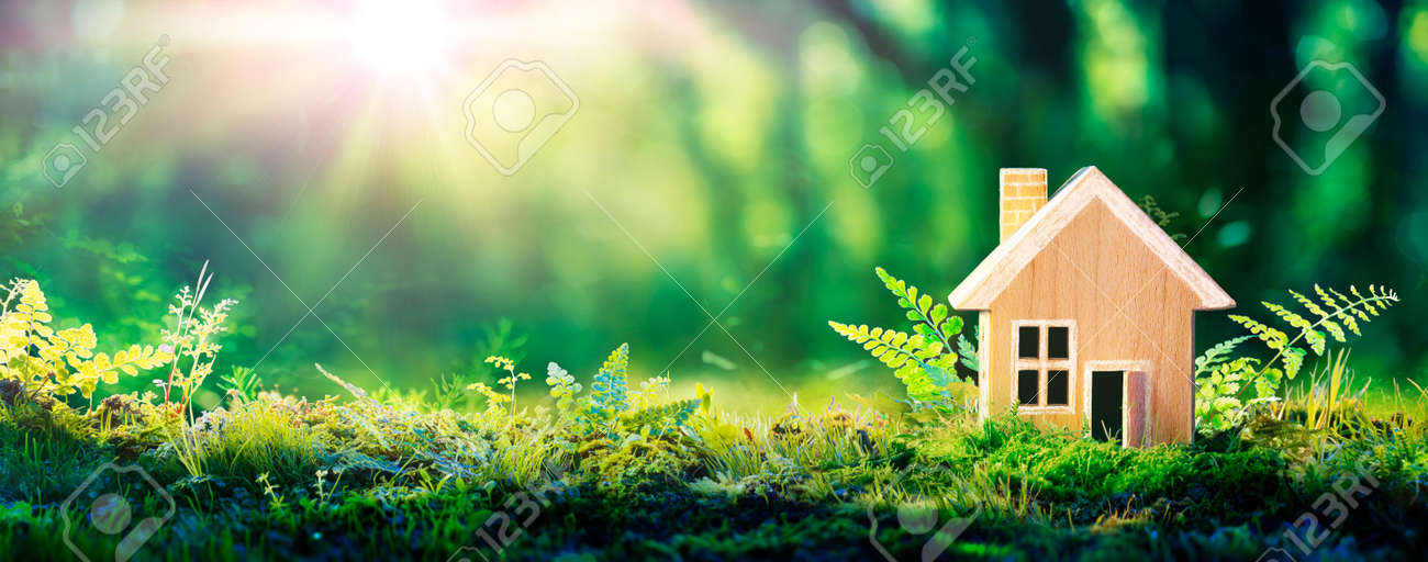 Eco House In Green Environment - Wooden Home Friendly On Grass - 168103873