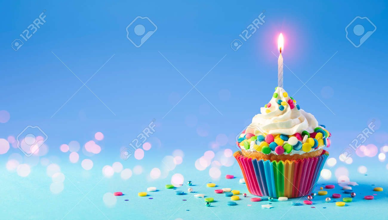 Birthday - Cupcake With Candle And Blue Decoration - 169657753