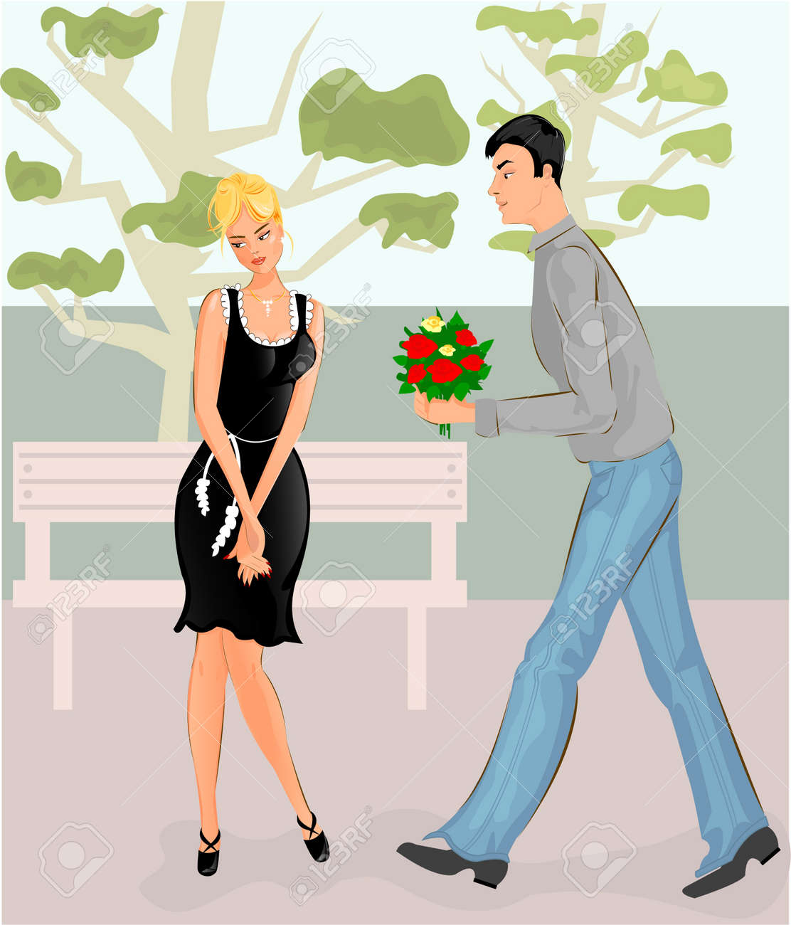 Couple in park Stock Vector - 12170309