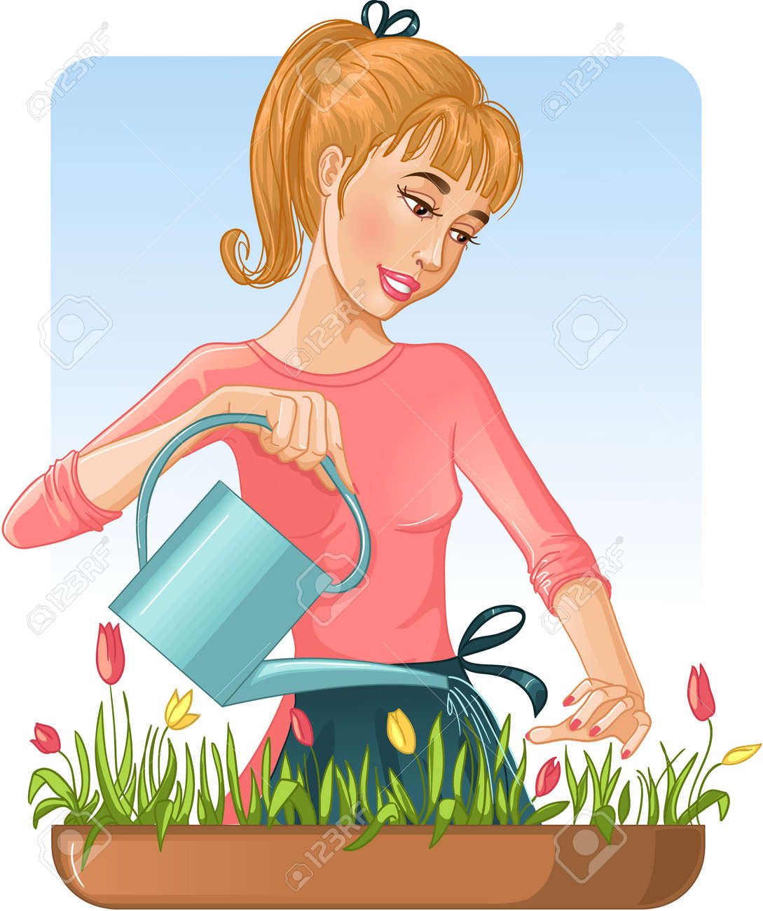Woman watering her flowers with can. Stock Vector - 12481180