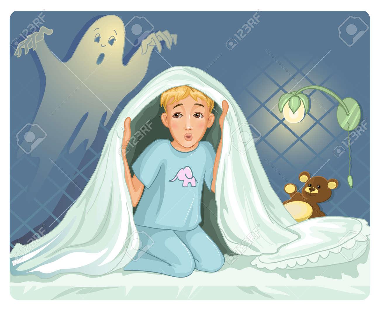 Bon Mardi 12812527-Petit-gar-on-ne-peut-pas-dormir-parce-que-a-la-peur-dans-la-nuit-Banque-d'images