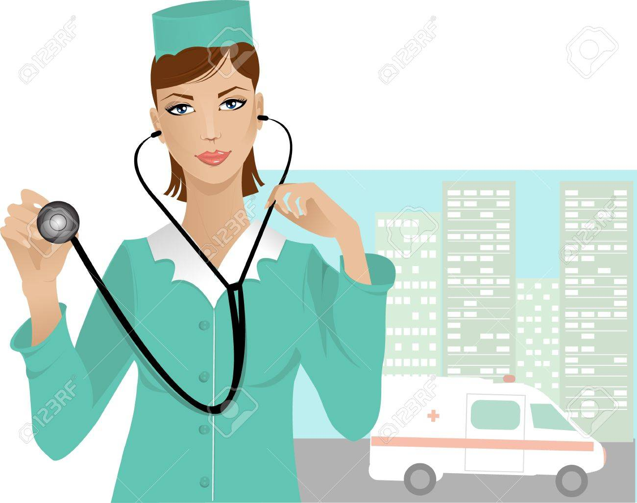 Nurse with stethoscope on the urban background with emergency ambulance Stock Vector - 12954654