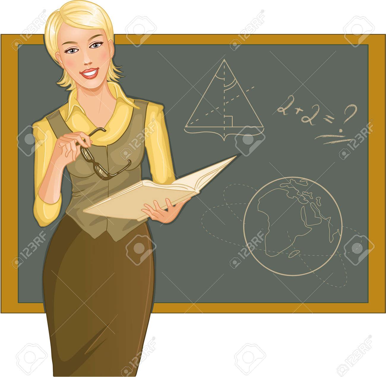 Teacher at blackboard Stock Vector - 13235325
