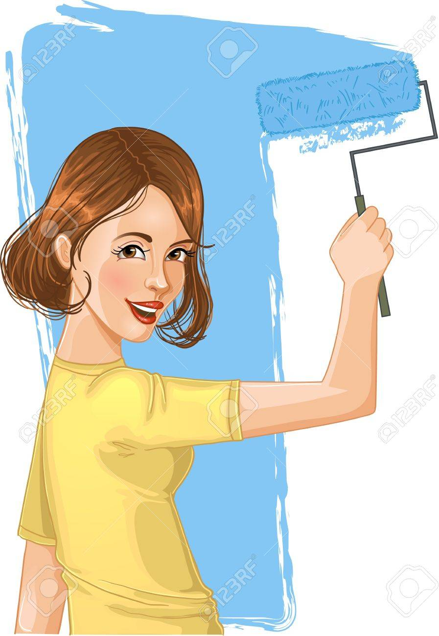 Image result for woman painting a wall clipart