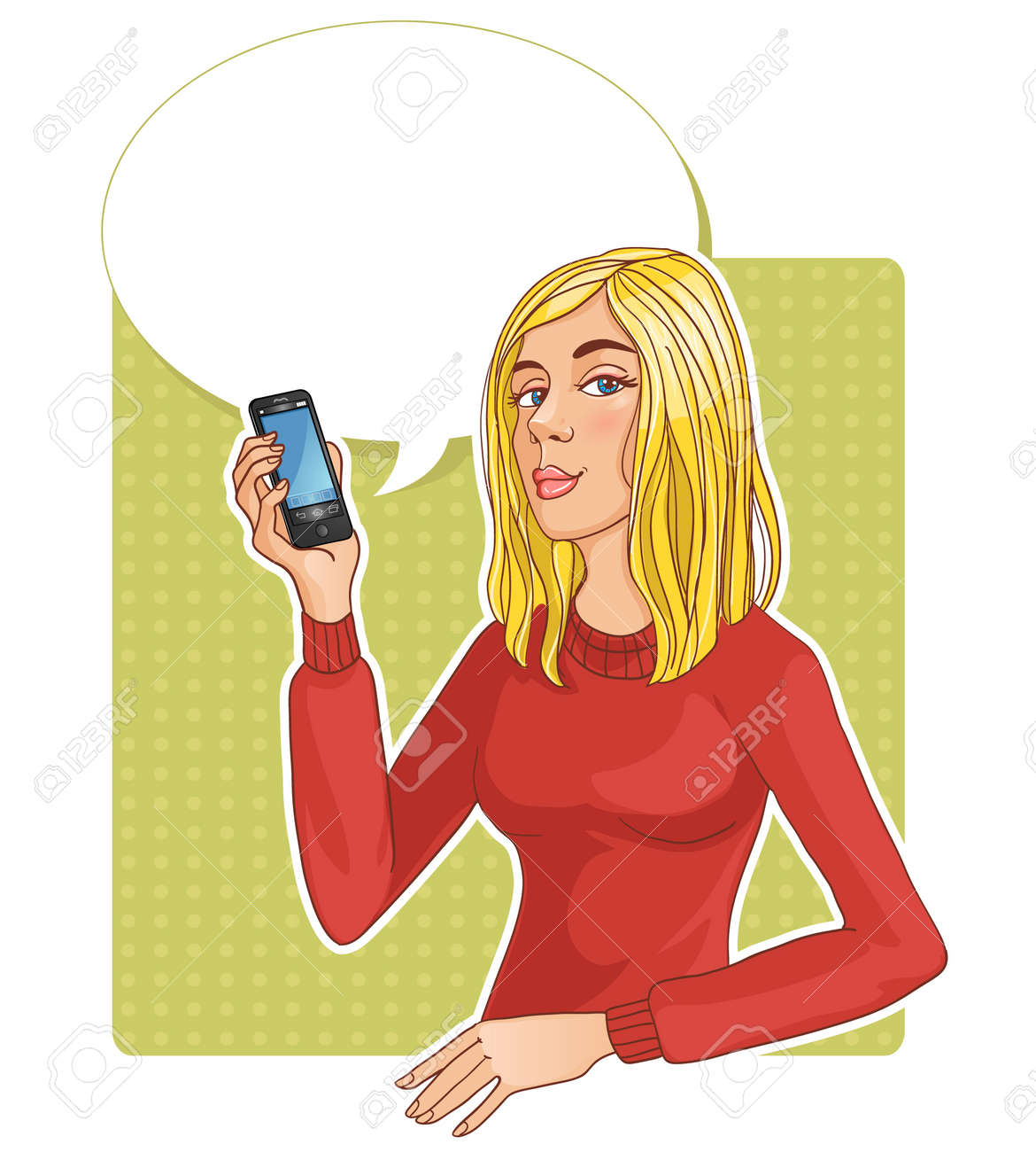 Beautiful woman with smartphone Stock Vector - 20246196