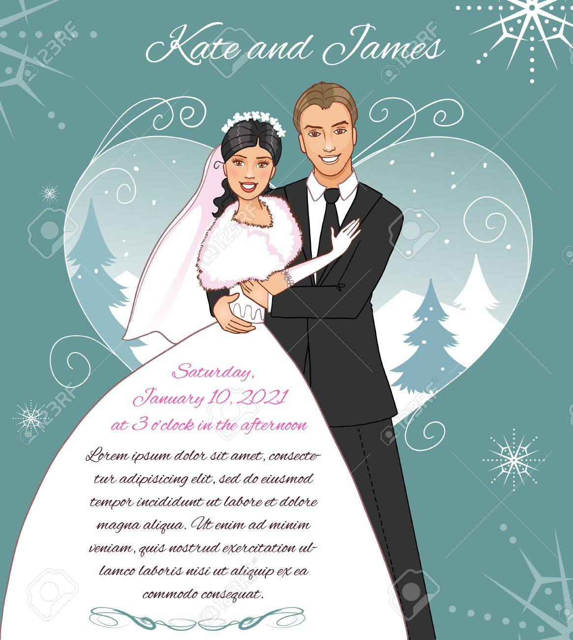 Young Couple On The Winter Background Invitation Card For The ...
