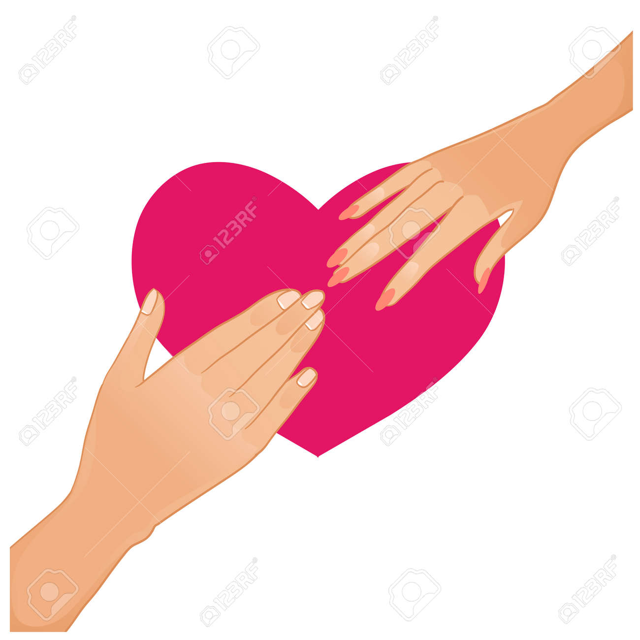 Woman and man hands on the background with heart Stock Vector - 23113295