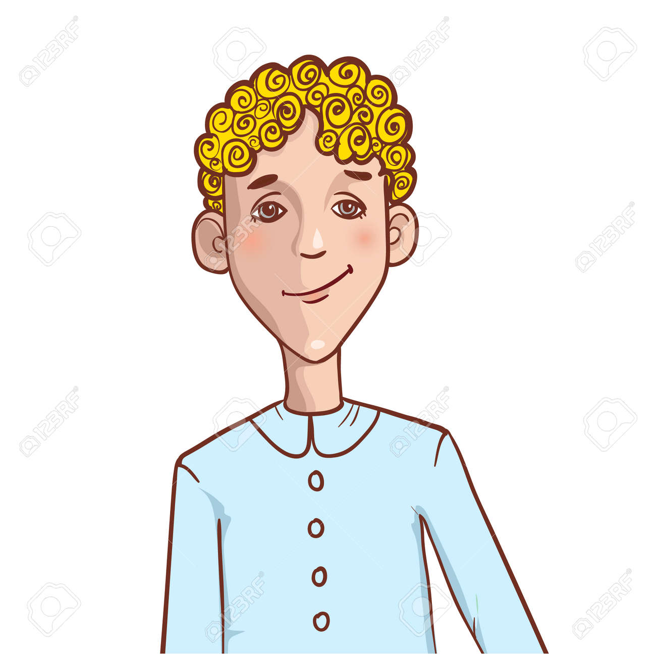 Teenager Cartoon Boy With Curly Hair Royalty Free Cliparts Vectors And Stock Illustration Image 24916602