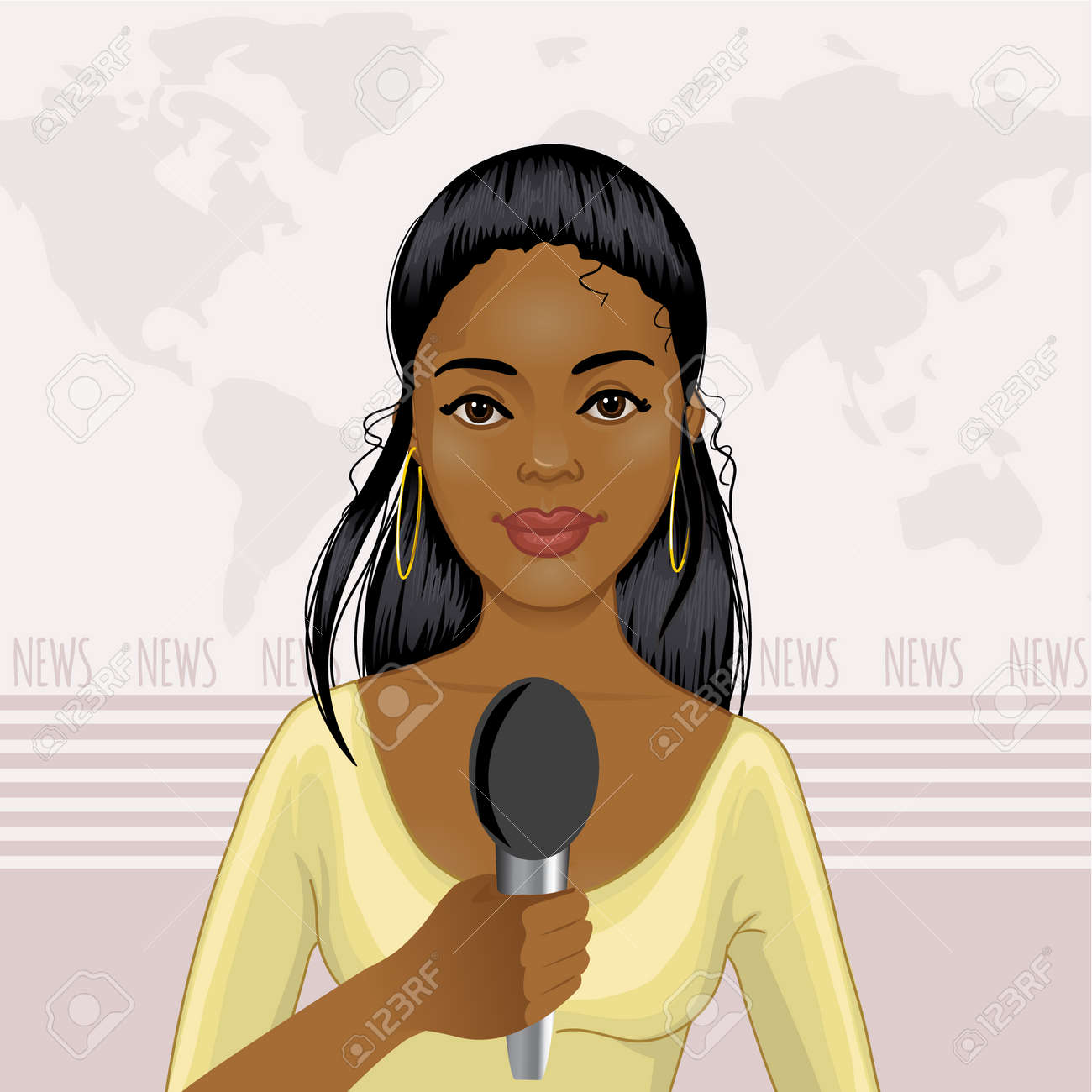 Pretty African American Girl Reports News Royalty Free Cliparts ...