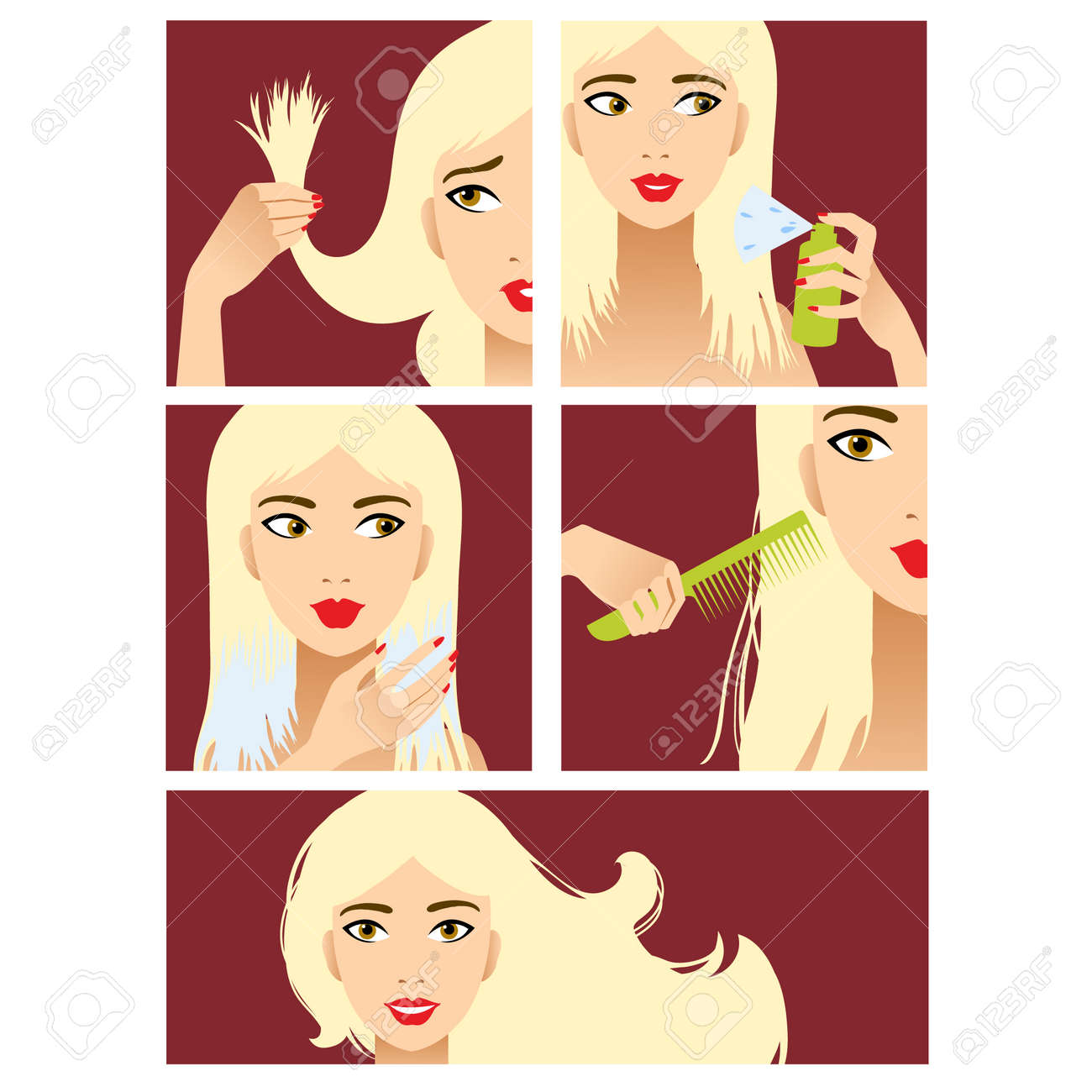 Icons set in flat design style with hair treatment, steps to prevent hair damage Stock Vector - 29110179