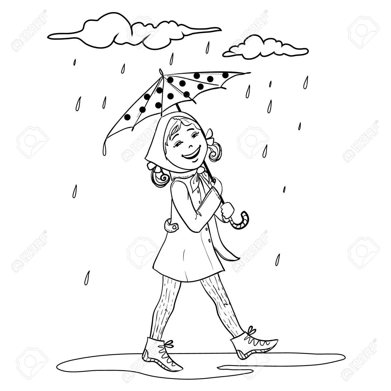 Niña De Dibujos Animados Con Paraguas, En Un Esquema Aislado En ...