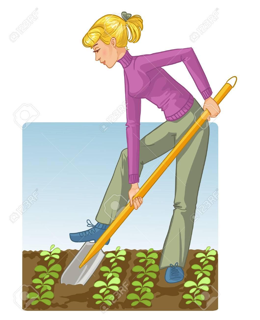 669 seasonal work in the garden stock illustrations cliparts and seasonal work in the garden young blonde w digging spring soil shovel
