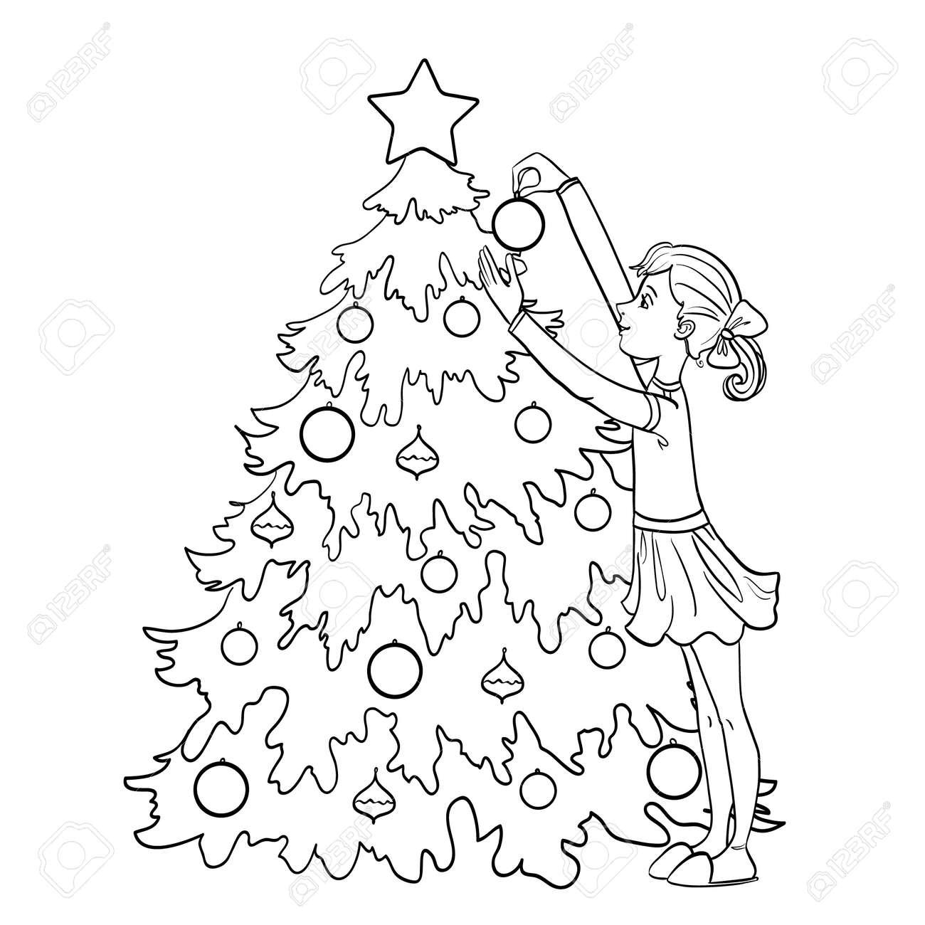 Niña De Dibujos Animados Decora El árbol De Navidad Con Bolas Delinear Aislado En Blanco