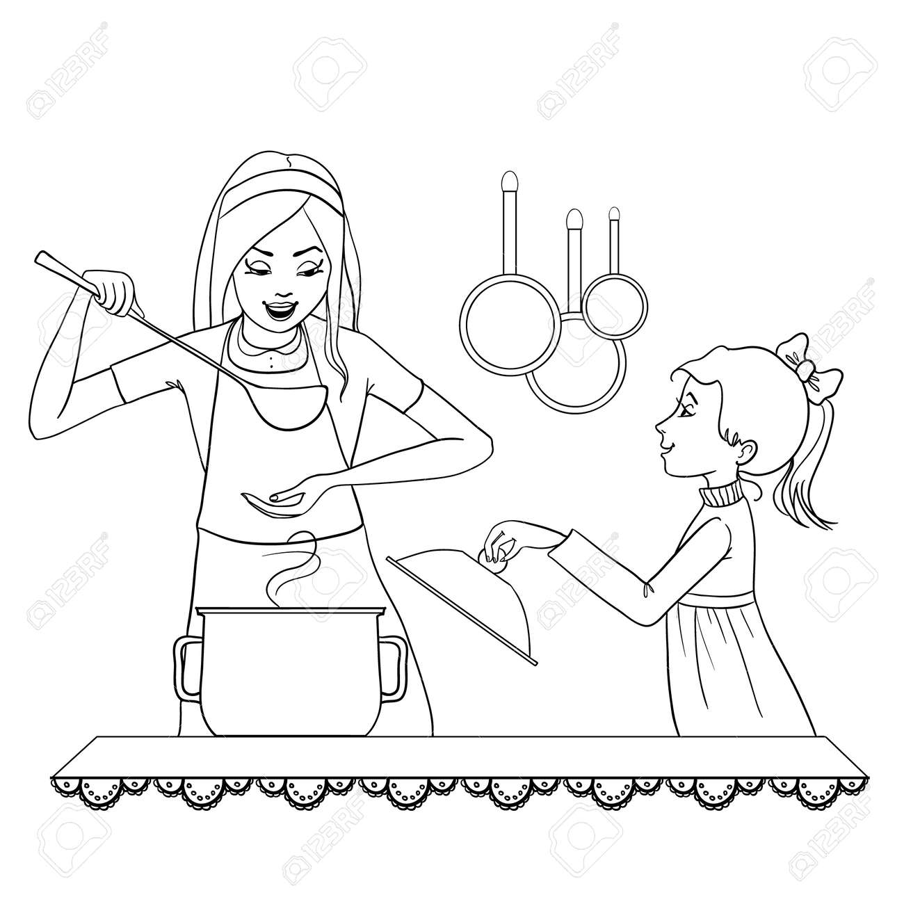 Coloring book kitchen - Vector Image Of Mother And Daughter Who Tests Food In The Kitchen Outline Isolated On White