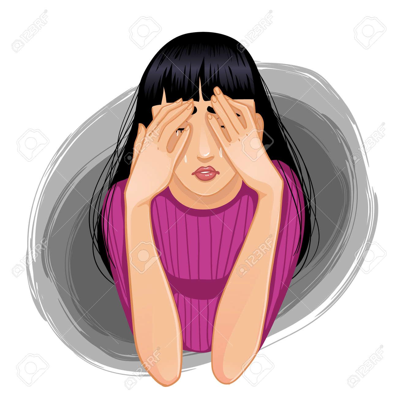 Eps10 彼女の手で彼女の顔を閉じた人若いの悲しい泣いている女性のベクトル画像のイラスト素材 ベクタ Image