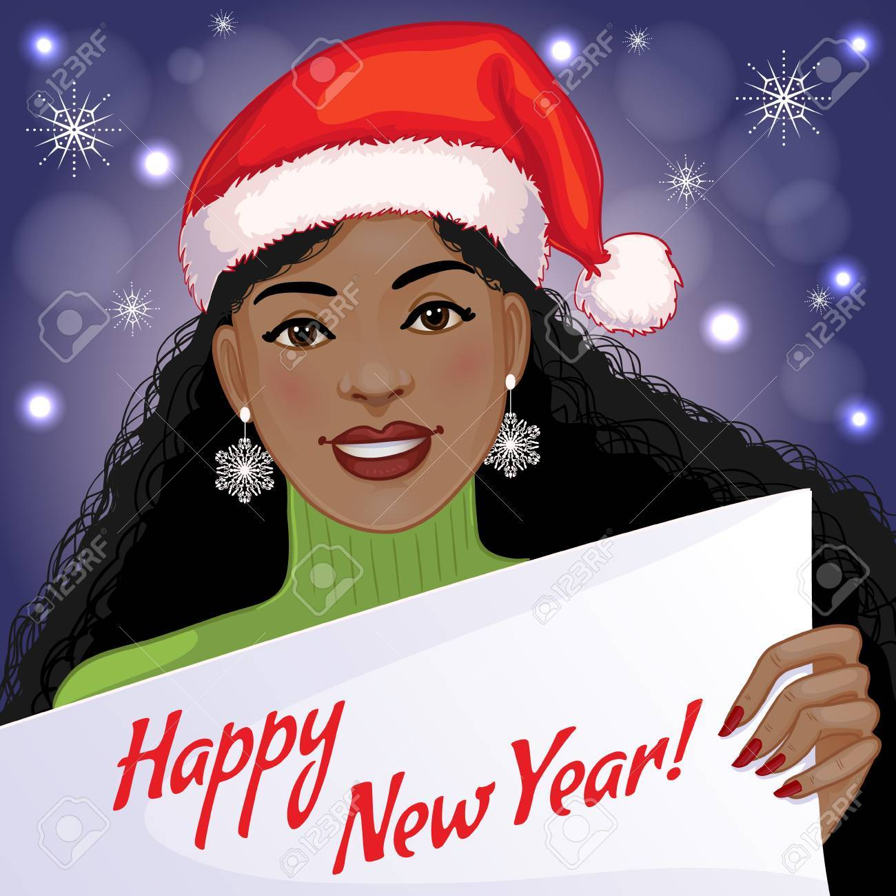 cute african american girl with new year greetings vector image eps10 stock vector