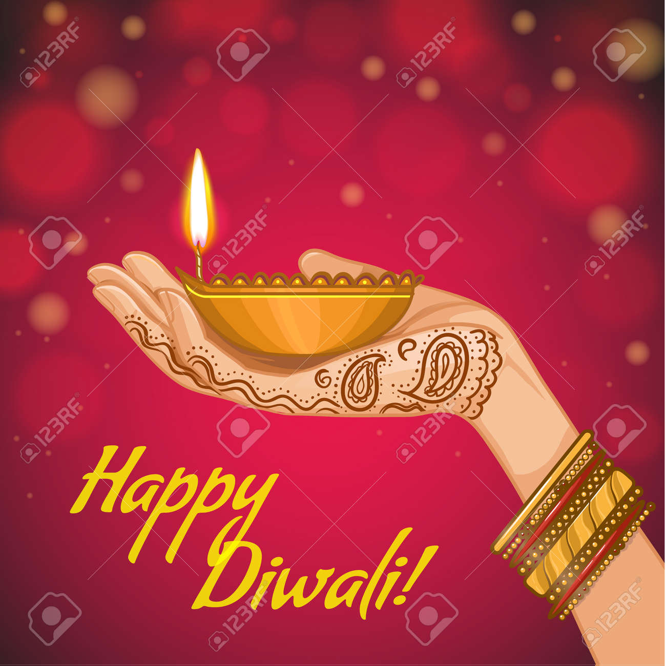 Greeting card for diwali with diya decoration in woman hand greeting card for diwali with diya decoration in woman hand vector image eps10 stock kristyandbryce Images