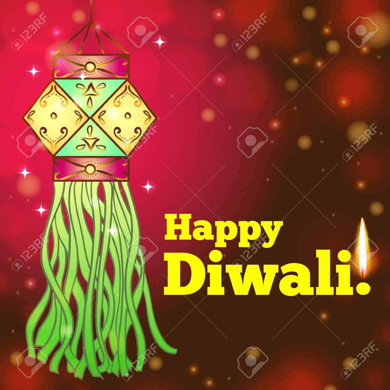 Greeting Card For Diwali With Colorful Lanterns Royalty Free