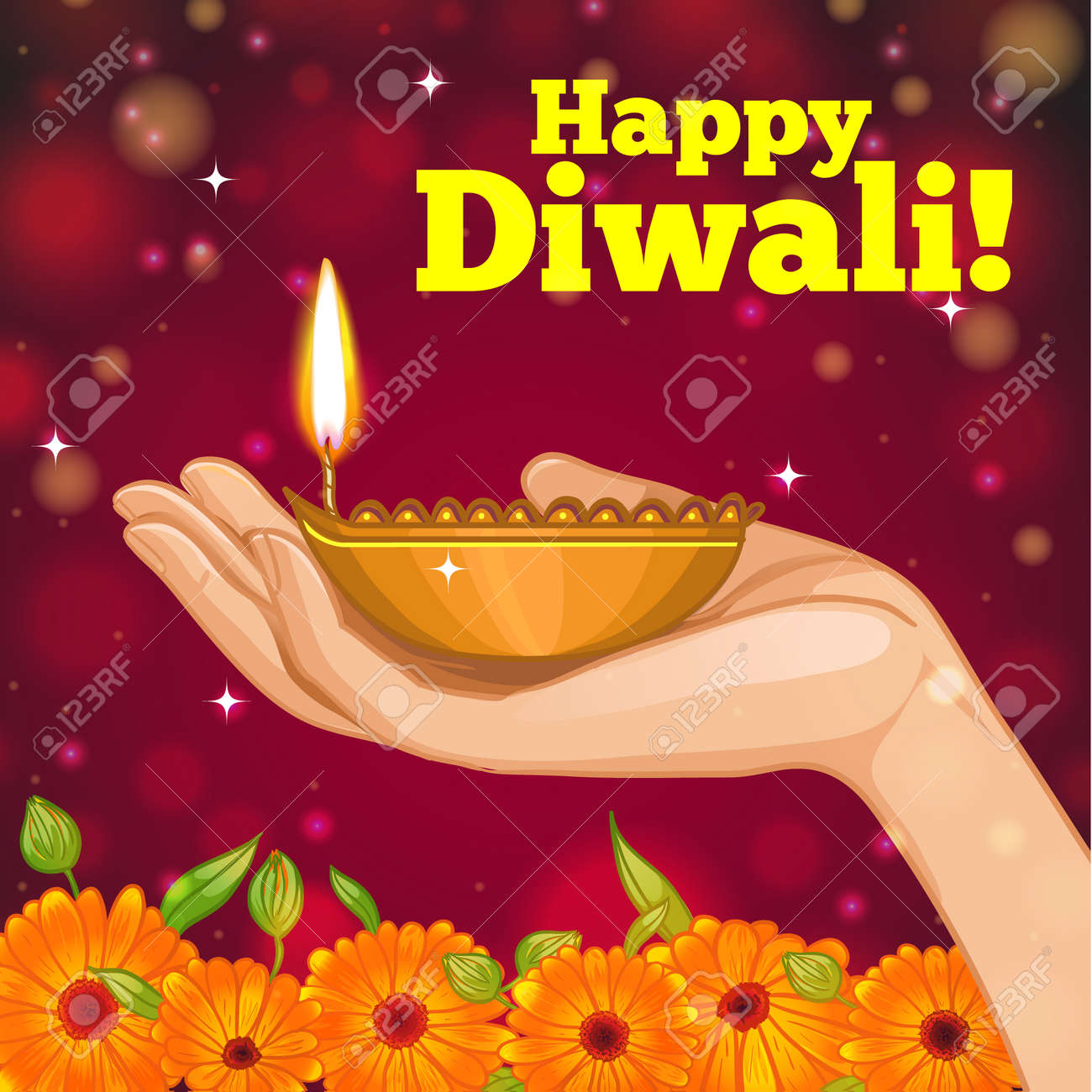Greeting card for diwali with diya decoration in hand vector greeting card for diwali with diya decoration in hand vector image eps10 stock vector kristyandbryce Images