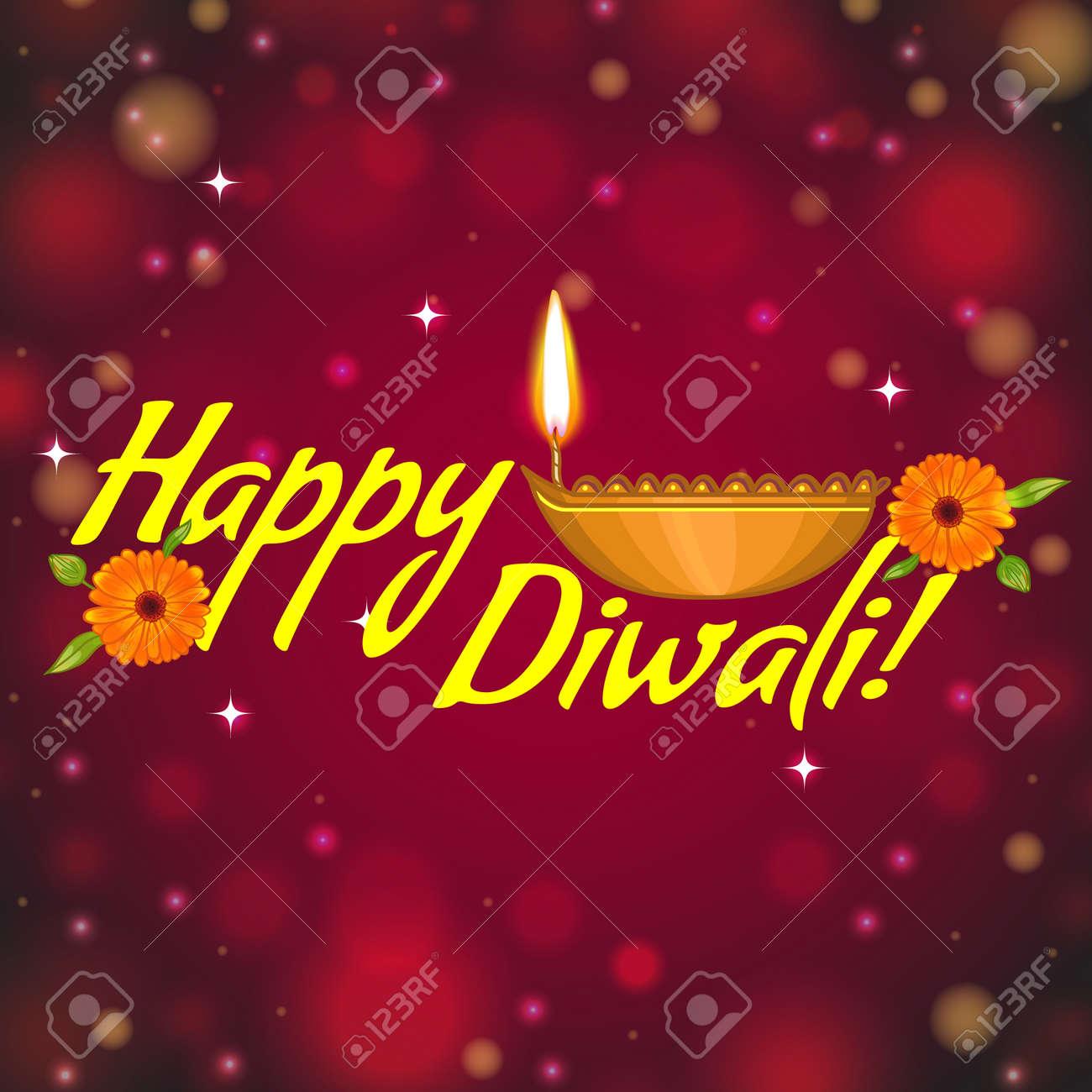 Greeting Card For Diwali With Diya Decoration Royalty Free Cliparts